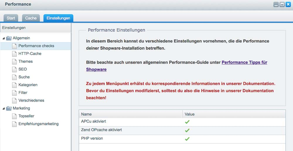Shopware Backend Performance