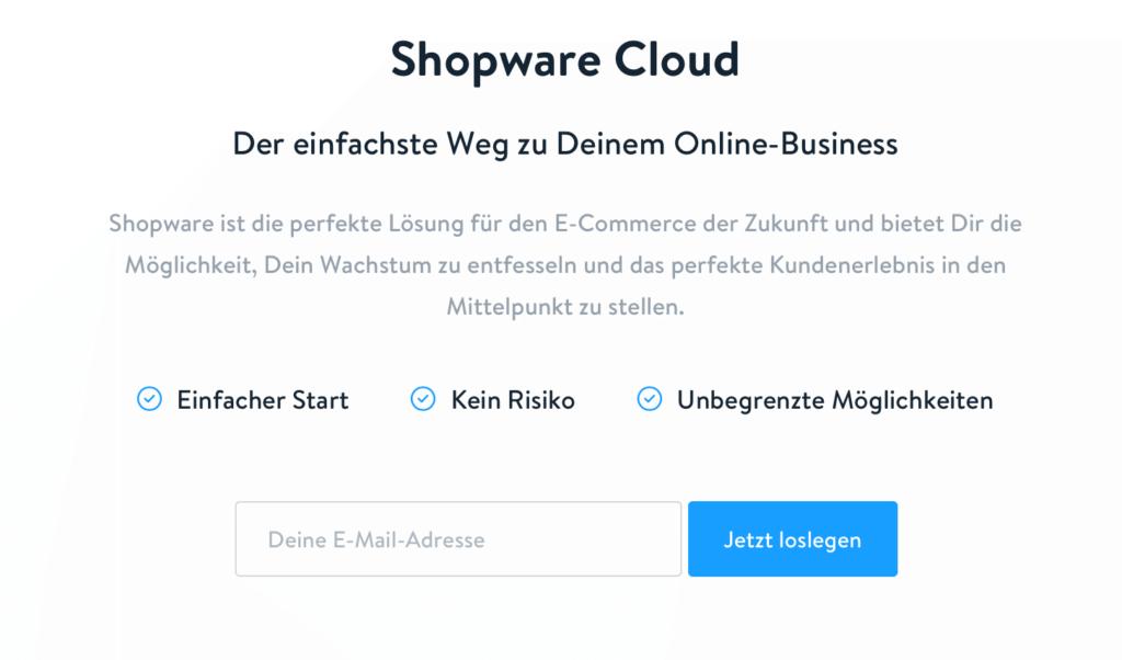 Shopware Cloud Anmeldung